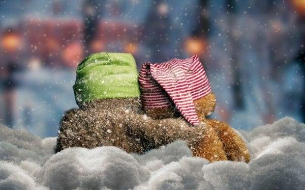 To bamser krammer i sneen