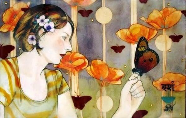 Kvinde rører ved sommerfugle og nyder det uventede i livet