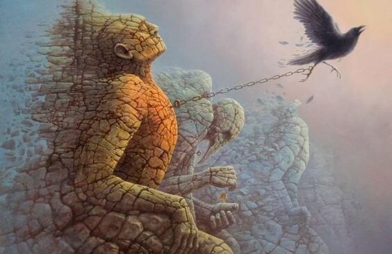 Mand af sten udviser følelsesmæssig modenhed og kæmper mod fugl