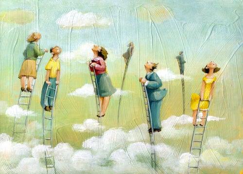 Personer på stiger kravler op i himlen