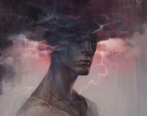 Person med hoved i storm