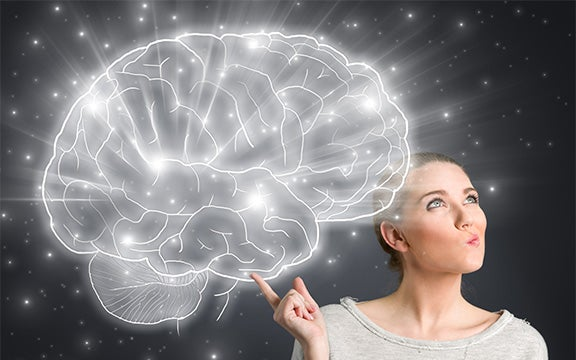 Kvinde med stor lysende hjerne har mental kontrol