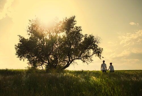 Par går tur på eng