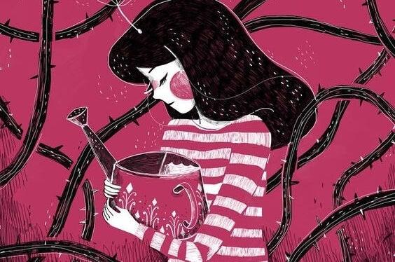 Pige med vandkande blandt tidsler