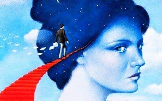 Person går på trappe op mod kæmpe hoved, som symboliserer narcissistisk person