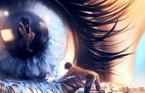 Mennesker tørrer op ved kæmpe øje, der græder