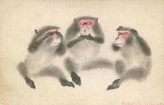 Lektionen fra de tre vise aber ved Toshogu helligdommen
