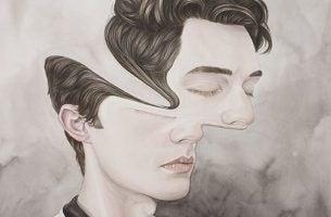 Mands ansigt er forvrædet på grund af pronoia
