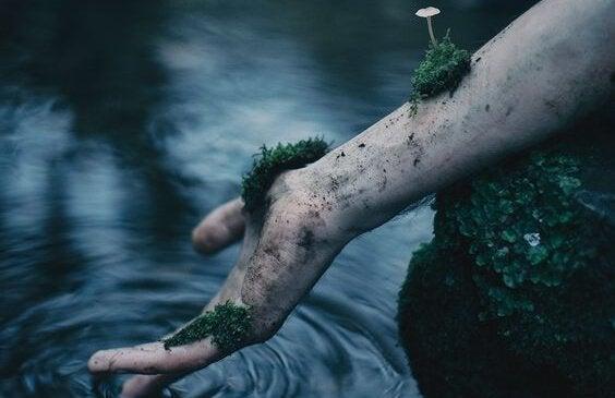 Arm i vand med mos