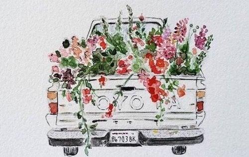 Bil fyldt med blomster