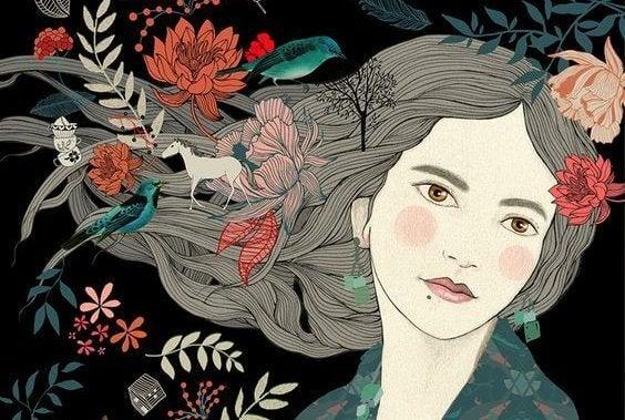Kvinde med blomster i hår fortryder intet