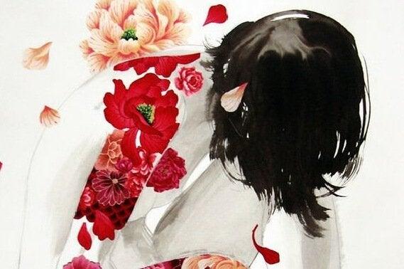 Nøgen kvinde med røde blomster