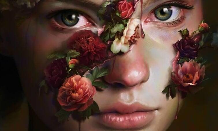 Kvinde med blomster og røde øjne kan ikke finde kærlighed uden lidelse