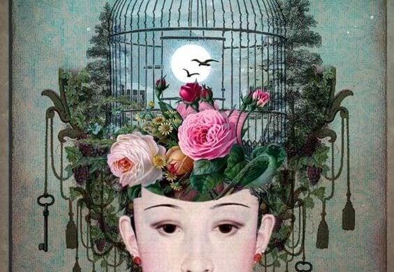 Kvinde med bur symboliserer følelsesmæssig afhængighed