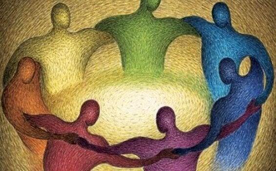 Farverige mennesker står i cirkel