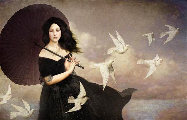 Kvinde med hvide duer