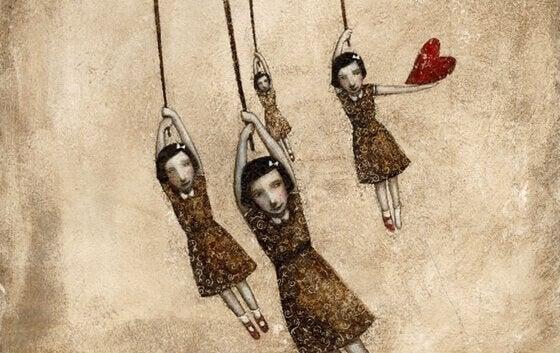 Dukker hænger i snore som symbol på narcissistiske familier