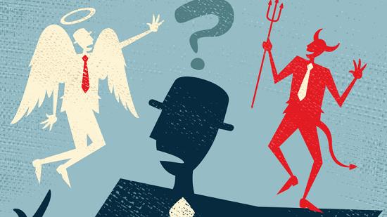 Engel og djævel symboliserer morale