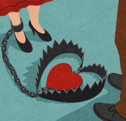 Fælde med hjerte i symboliserer medafhængighed