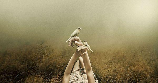 Kvinde ligger på mark med to fugle siddende på hænderne