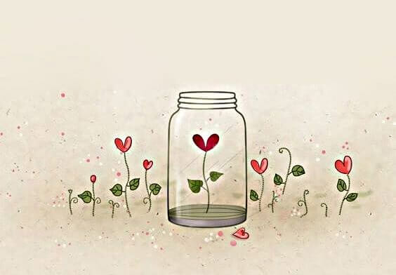 Blomst i glaskrukke