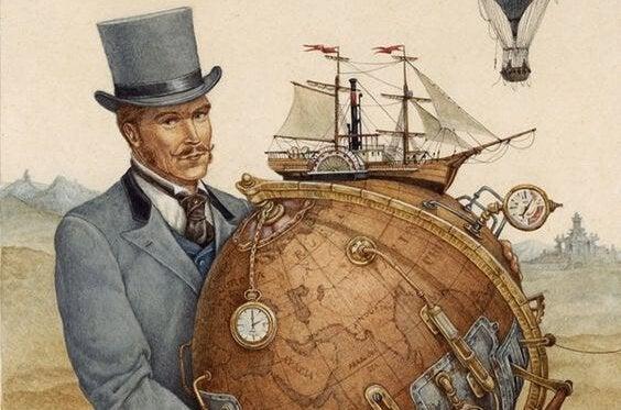 Mand står med globus med ur