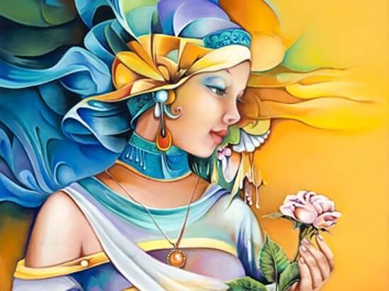 Kvinde med blomst er hersker i sit eget liv