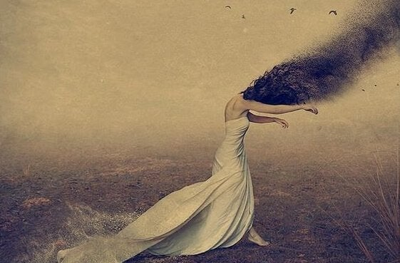 Sort sky som hoved symboliserer følelsesmæssige sår