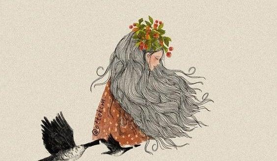 Pige med blomsterkrans på hovedet flyver med gæs