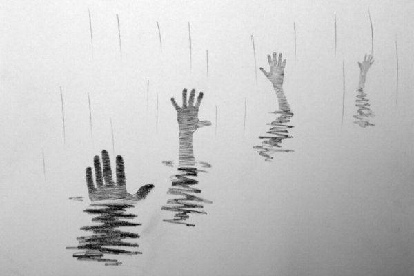 Druknende mennesker tager hænderne op og beder om behandling af depression