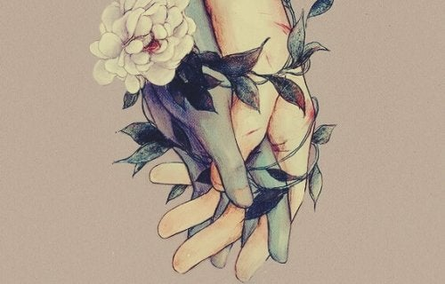 Hænder bundet sammen af blomster