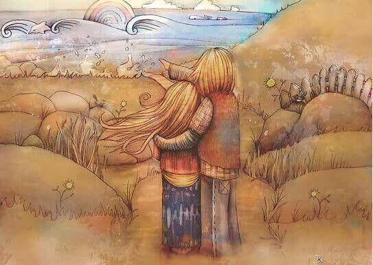Par nyder hav og viser kærlighed