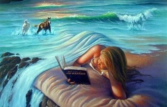Kvinde bryger hav som tæppe