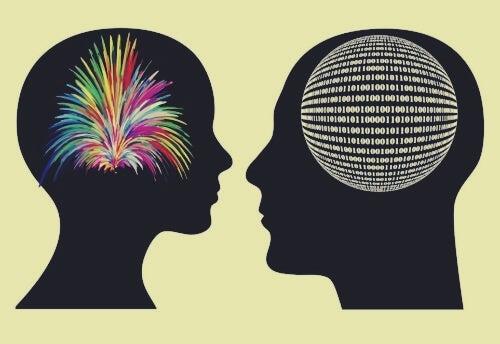 To hoveder med tegninger som hjerner