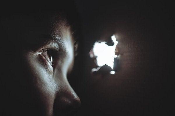 Dreng kigger ud af hul fra kasse