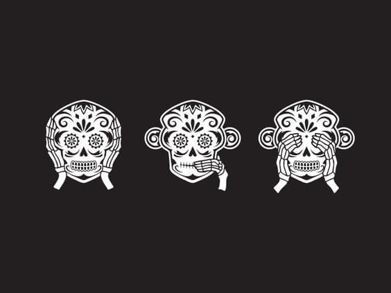 Tegning af de tre vise aber