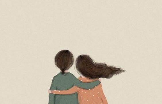 To personer krammer hinanden for at illustrere, at det er simpelt at være glad