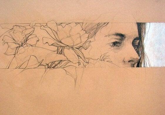 Tegning af kvinde med blomster, der vil udleve drømme