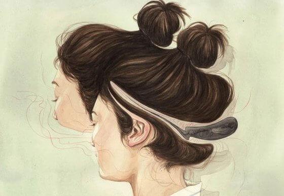 Kvindes ansigt er forvrædet på grund af pronoia