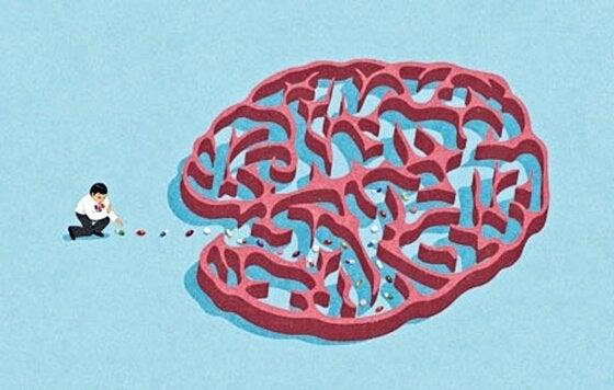 Labyrint formet som hjerne