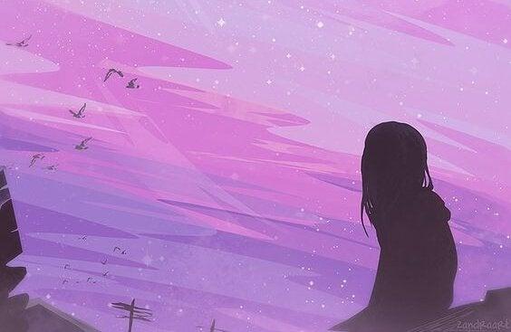Kvinde ser på aftenhimmel. Hun vil komme igennem dette