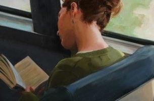 Maleri af dreng i bus, der nyder at læse bøger
