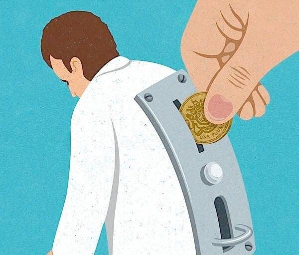 Mand som pengeautomat symboliserer kynisme