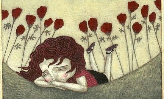 Pige på mark græder på grund af narcissistiske familier