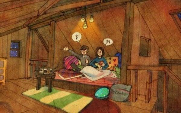 Par sidder i seng og synger