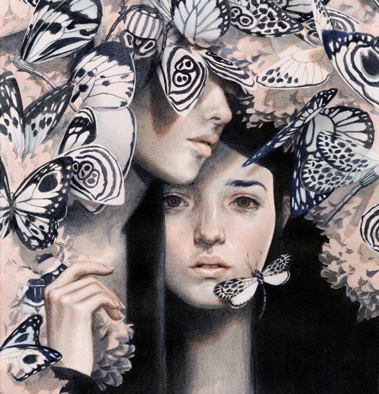 Par med sommerfugle omkring sig