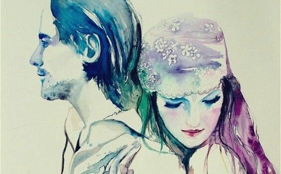 Krammende par illustrerer kunsten at elske