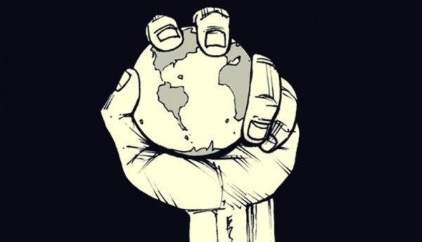 Planet i hånd symboliserer magt
