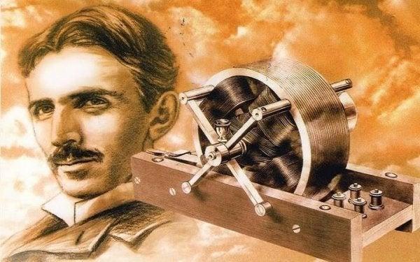 Nikola Tesla foran spole