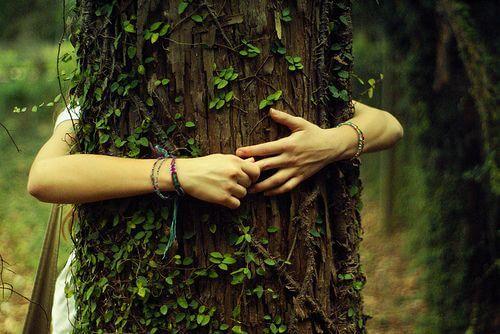 Kvinde krammer træ for at vise taknemmelighed for natur